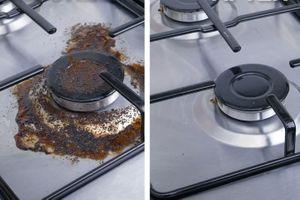 Cách tẩy vết dầu mỡ, khử muội than trên bếp gas