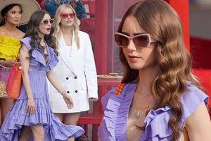 Lily Collins diện váy xẻ sâu, 'thả rông' trên phim trường Emily In Paris phần 2