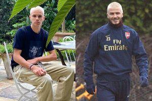 Romeo Beckham được khen nhuộm tóc bạch kim giống cha