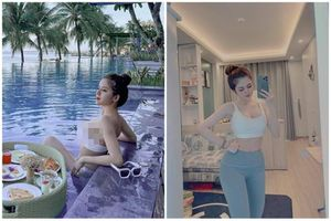 Check-in hồ bơi, vợ cũ Huy Cung gây chú ý vì vòng 1 'khủng'