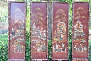 Bộ tranh sơn mài quý về nội dung Truyện Kiều được khảm vỏ trứng thiếp vàng