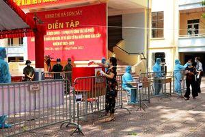 Thị xã Sơn Tây diễn tập phương án phòng, chống Covid-19 cho ngày bầu cử