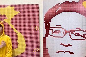 Màn khắc họa bằng rubik chân dung Phó Thủ tướng Vũ Đức Đam