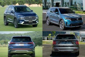 Chọn mua Hyundai Santa Fe 2021 bản máy dầu cao cấp hay Kia Sorento Signature?
