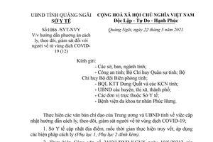 Sở y tế Quảng Ngãi hướng dẫn cách ly, theo dõi, giám sát người về từ vùng dịch COVID-19