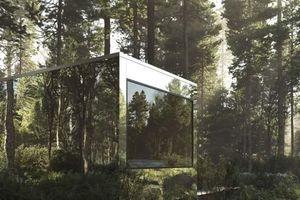 Những ngôi nhà cabin phản chiếu hòa vào cảnh quan khu rừng ở Canada