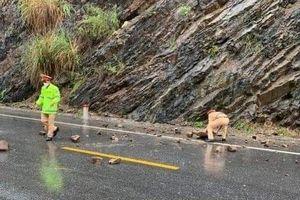 CSGT đội mưa dọn đá sạt lở quốc lộ