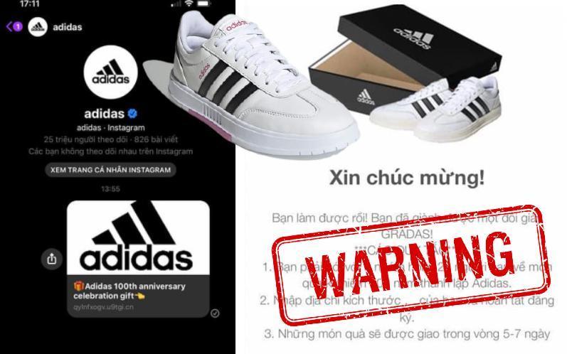 Cảnh báo: Xuất hiện đường link giả mạo Adidas để lừa đảo trên Facebook, nhiều người sập bẫy chỉ vì phần quà rất giá trị