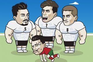 Biếm họa 24h: Cristiano Ronaldo 'bầm dập' vì đọ sức với tuyển Đức