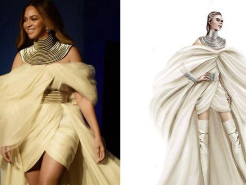 Góc tự hào: Beyonce gợi cảm như nữ thần trong bộ đầm của NTK Phương My