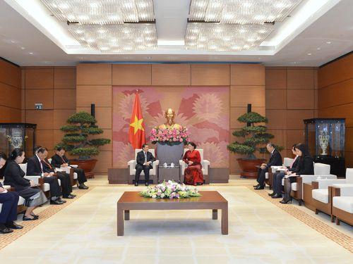 Chủ tịch Quốc hội Nguyễn Thị Kim Ngân tiếp Đại sứ Lào