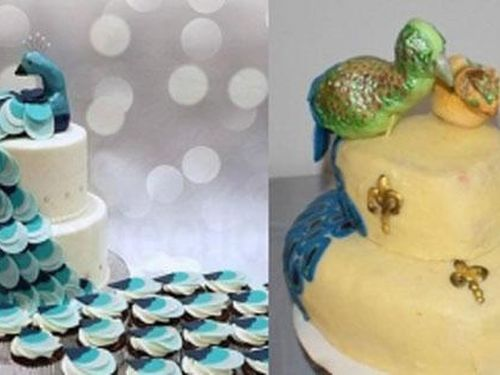 Đặt chiếc bánh cưới hình con công vô cùng bắt mắt, đến khi mở ra cô dâu mới 'choáng' vì con vật bên trong