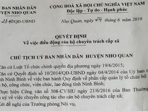 Nho Quan (Ninh Bình): Phó Chủ tịch xã bỗng thành nhân viên… 'treo cờ'