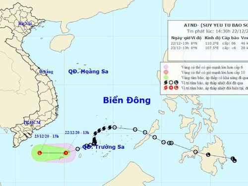 Áp thấp nhiệt đới gây sóng lớn, gió giật mạnh trên biển