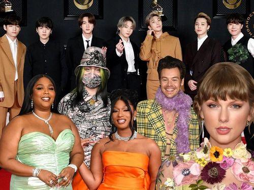 Thảm đỏ rực rỡ Grammys 2021: BTS hút spotlight, Taylor Swift đẹp như nàng tiên hoa