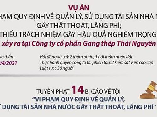 Chi tiết án phạt các bị cáo trong vụ án Gang thép Thái Nguyên
