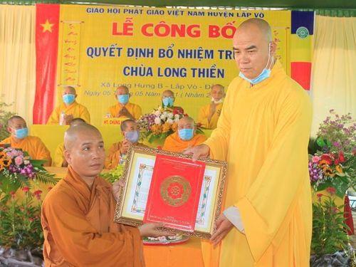 Đồng Tháp: Lễ trao quyết định bổ nhiệm trụ trì chùa Long Thiền