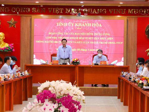 Trưởng Ban Nội chính Trung ương làm việc với lãnh đạo tỉnh Khánh Hòa