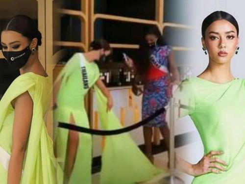 Miss Universe 2020: Hoa hậu Thái Lan bị đạp rách váy vì mặc 'lồng lộn', cố tình đi chậm chụp ảnh