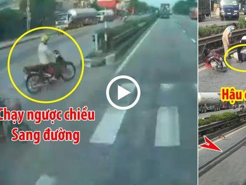 Đi ngược chiều sang đường, người phụ nữ bị container tông bất tỉnh