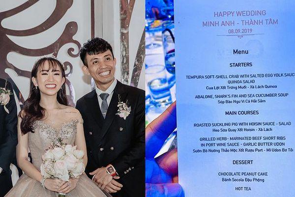 Choáng với thực đơn 'sơn hào hải vị' đám cưới gần 20 tỷ con gái Minh Nhựa