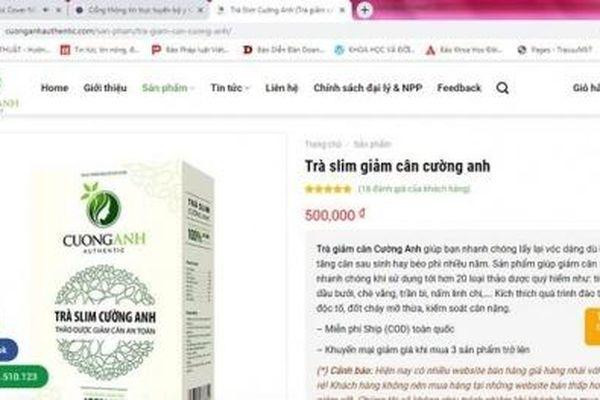 Ngang nhiên quảng cáo thực phẩm bảo vệ sức khỏe Trà Slim Cường Anh trên website 'trôi nổi'
