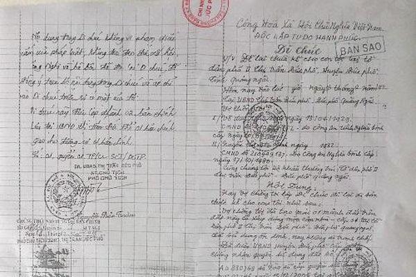 Vụ di chúc nhiều uẩn khúc ở Quảng Ngãi: Cần xem xét các chứng cứ liên quan