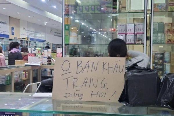 Nhiều tiệm thuốc đồng loạt để biển 'không bán khẩu trang'