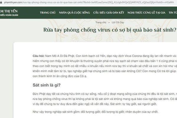Website bà Phạm Thị Yến gây sốc với câu hỏi: 'Rửa tay phòng chống virus có sợ bị quả báo sát sinh?'