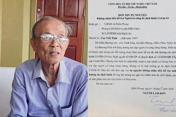 Thương binh 83 tuổi viết đơn xin không nhận tiền hỗ trợ do ảnh hưởng COVID-19