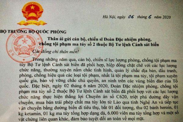 Đại tướng Ngô Xuân Lịch gửi thư khen lực lượng Cảnh sát biển vì có thành tích phá án ma túy