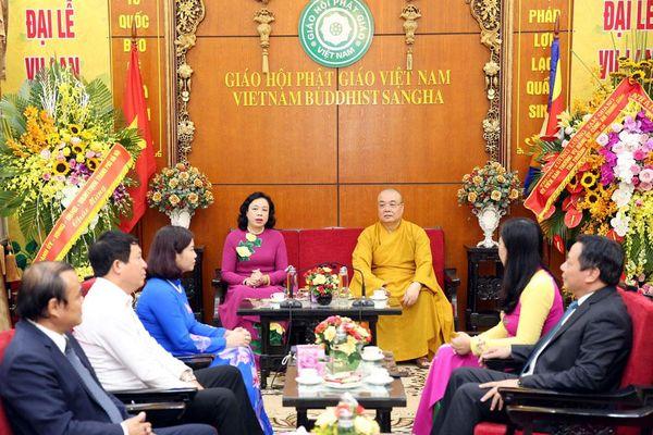 Lãnh đạo thành phố chúc mừng Trung ương Giáo hội Phật giáo Việt Nam và Thành hội Phật giáo Hà Nội