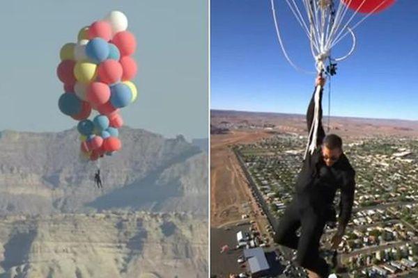 Cần gì máy bay, người này chỉ bám vào chùm bóng bay khổng lồ mà bay lên cao gần 8.000 mét