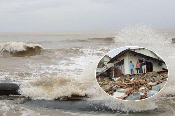 Sóng đánh tan hoang bờ biển Hội An, nhiều nhà dân, nhà hàng đổ sập