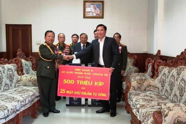 Binh đoàn 11 ủng hộ Bộ Quốc phòng Lào phòng, chống Covid-19