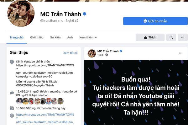 Sau ca sĩ Lý Hải, tới lượt MC Trấn Thành bị hack kênh YouTube