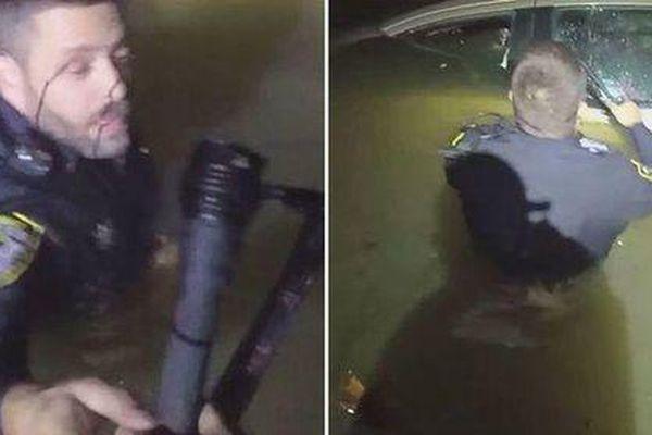 Người phụ nữ ngủ quên trên tay lái, xe trượt khỏi đường và rơi xuống sông chìm dần