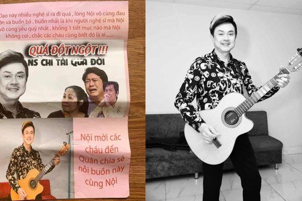Dân mạng phẫn nộ quán ăn lợi dụng sự qua đời của nghệ sĩ Chí Tài để quảng cáo bẩn và phản cảm