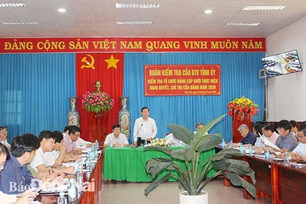 Kiểm tra thực hiện nghị quyết, chỉ thị của Đảng tại các Đảng bộ trực thuộc tỉnh