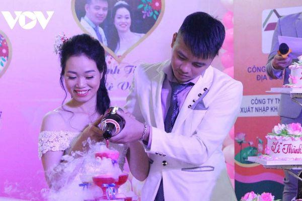 Xúc động lễ cưới tập thể 0 đồng của 5 cặp đôi công nhân nghèo Bình Dương