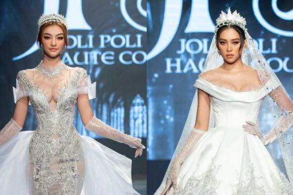 Kiều Loan, Tiểu Vy diện váy xẻ sâu diễn thời trang