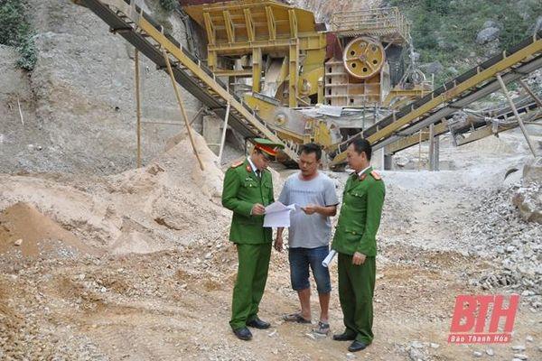 Công an huyện Hà Trung đấu tranh phòng, chống vi phạm trong lĩnh vực khoáng sản