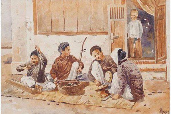 Bộ tranh hiếm về cảnh sinh hoạt ở miền Bắc Việt Nam xưa