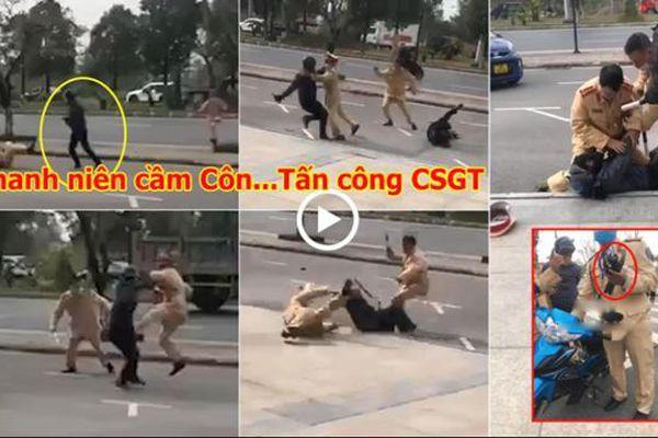 Thanh niên không chấp hành hiệu lệnh, cầm côn nhị khúc tấn công CSGT