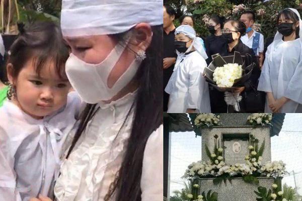 Linh Lan và con gái cúi lạy trong lễ an táng Vân Quang Long