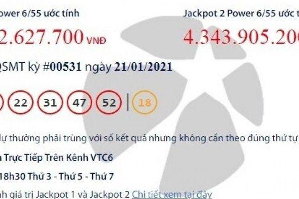 Xổ số Vietlott 21/1/2021: Vẫn chờ người trúng giải khủng hơn 40 tỷ đồng