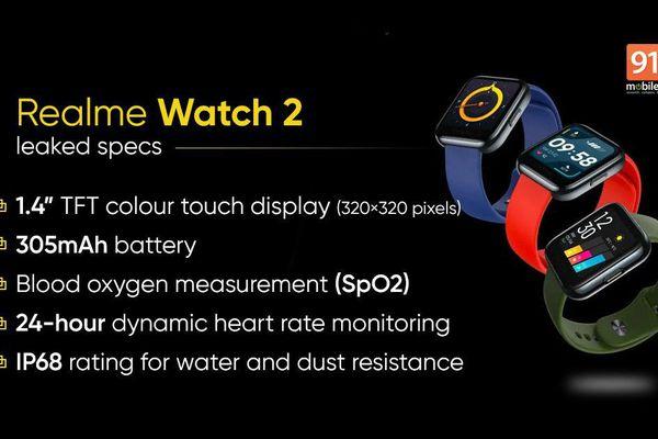 Realme Watch 2 lộ diện thiết kế và thông số kỹ thuật chi tiết