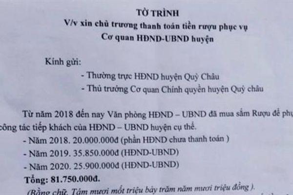 Văn phòng huyện xin 81 triệu trả tiền rượu: 'Không chấp nhận'