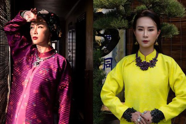 Hoa hậu biển Vũ Ngọc Diệp thả dáng trong BST áo dài gấm hoa