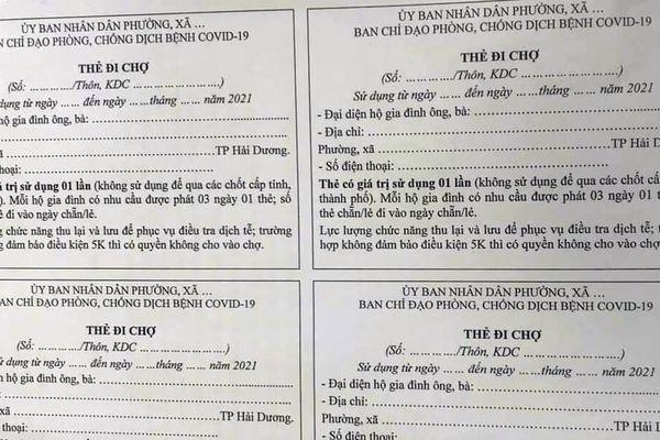 Người dân TP Hải Dương được phát thẻ đi chợ mua đồ cần thiết